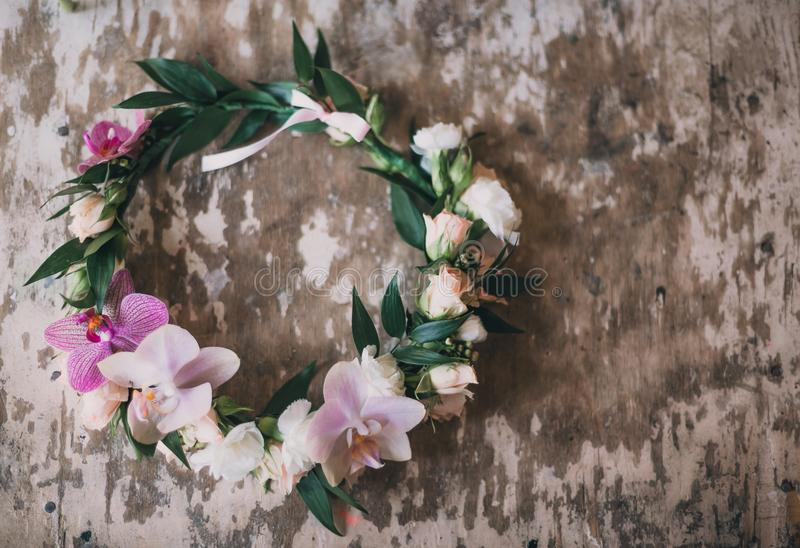 Beautiful handmade floral wreath stock photo