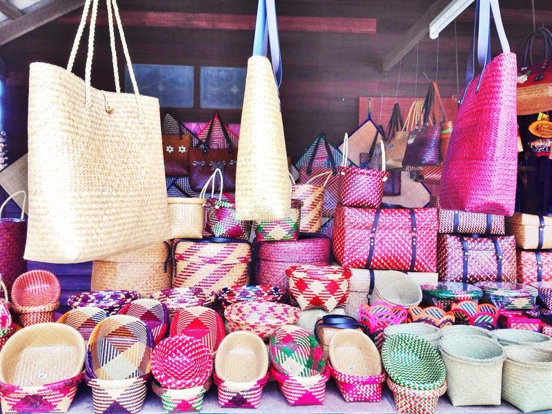 Beautiful handmade traditional Thai style basketwork. Colorful handmade traditional Thai style basketwork royalty free stock photo
