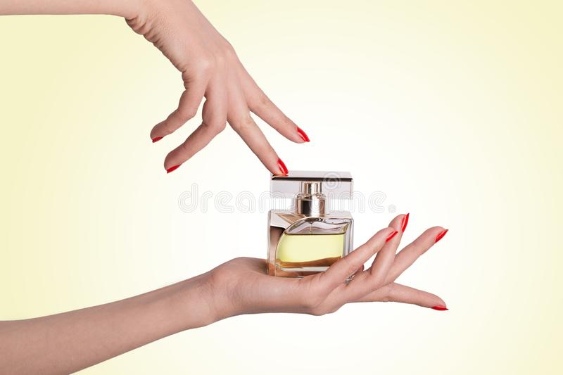 Beautiful Hands Of Female Holding And Touching A Glass Perfume B royalty free stock image