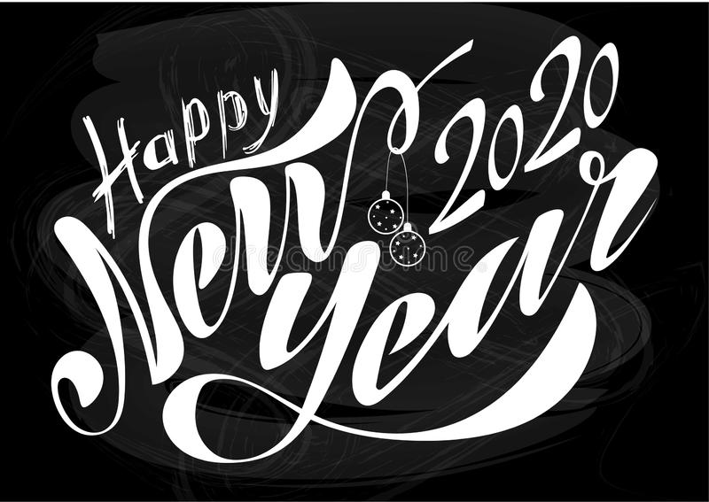 Beautiful handwritten text Happy New Year 2020. Vector illustration isolated on textured background with toys for postcard, label royalty free stock photo