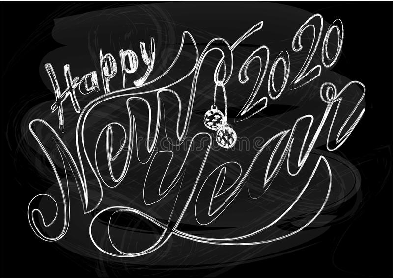 Beautiful handwritten text Happy New Year 2020. Vector illustration isolated on textured background with toys for postcard, label royalty free stock image