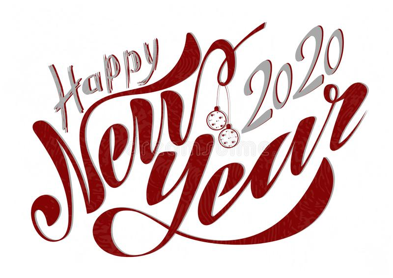 Beautiful handwritten text Happy New Year 2020. Vector illustration isolated on textured background with toys for postcard, label stock photography