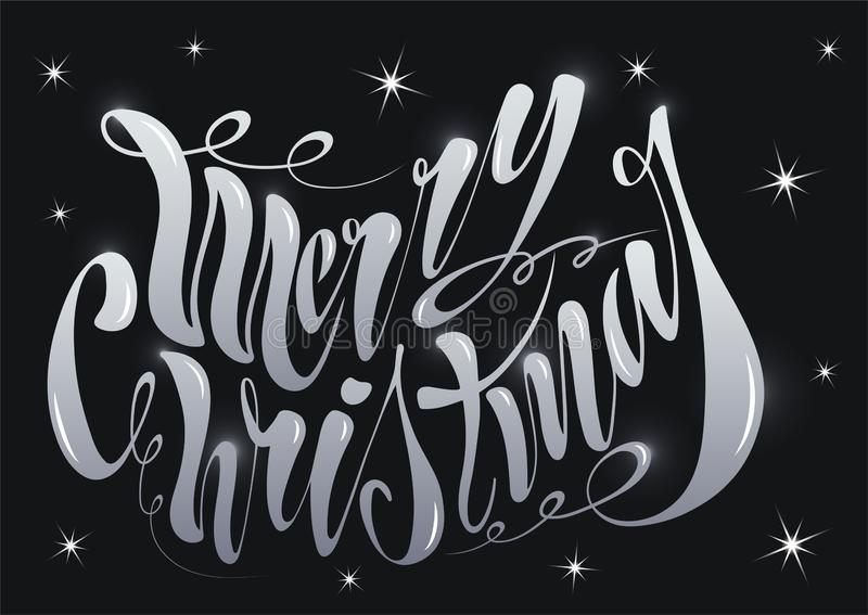 Beautiful handwritten text Merry Christmas. Vector illustration isolated on textured background for greeting cards, labels, royalty free stock photos
