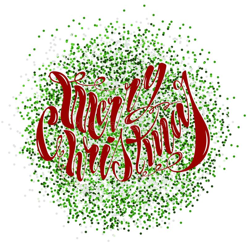 Beautiful handwritten text Merry Christmas. Vector illustration isolated on textured background for greeting cards, labels, stock image
