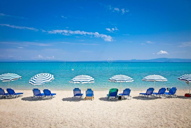 Beautiful Hanioti beach on Kasandra, Greece. Beautiful Hanioti beach on Kasandra peninsula, Halkidiki, Greece royalty free stock photography