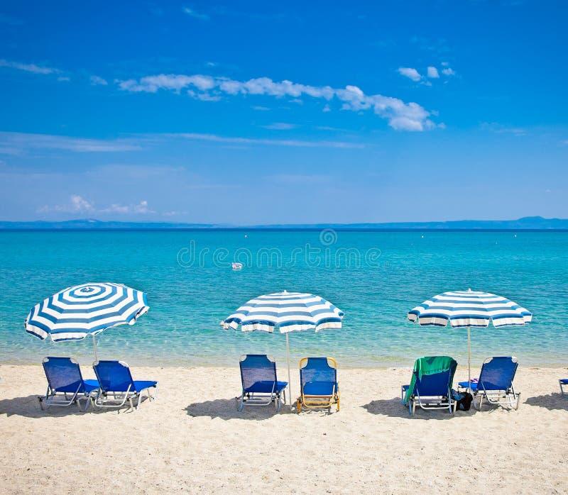 Beautiful Hanioti beach on Kasandra peninsula, Greece. Beautiful Hanioti beach on Kasandra peninsula, Halkidiki, Greece stock photo