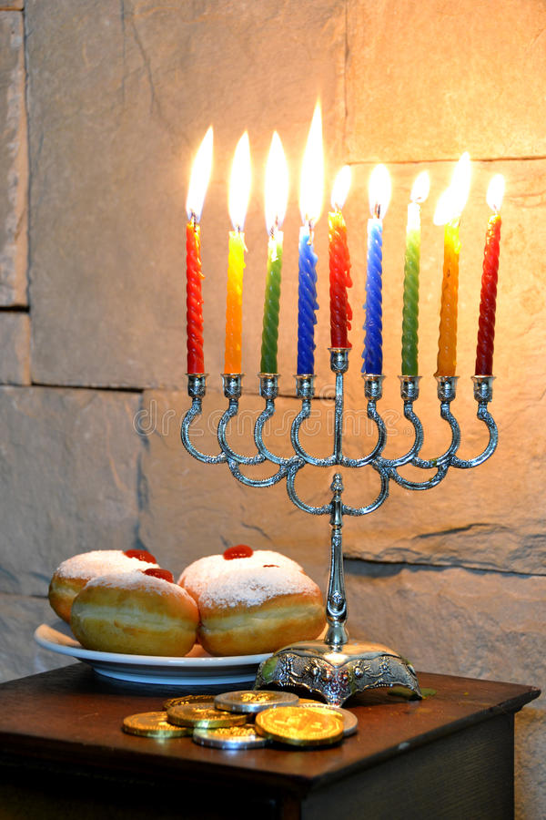 Beautiful hanukkah candles royalty free stock photos