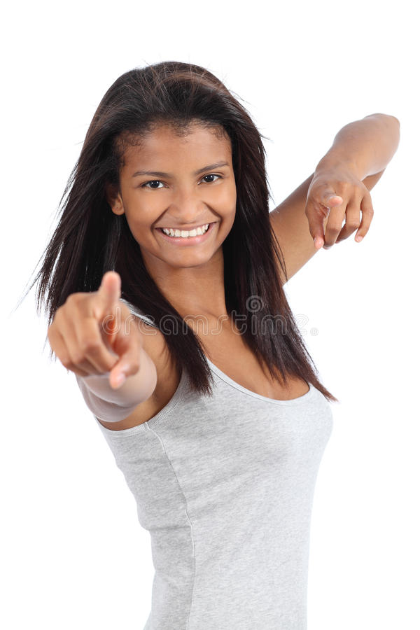 Beautiful happy african american teenager girl. Isolated on a white background stock images
