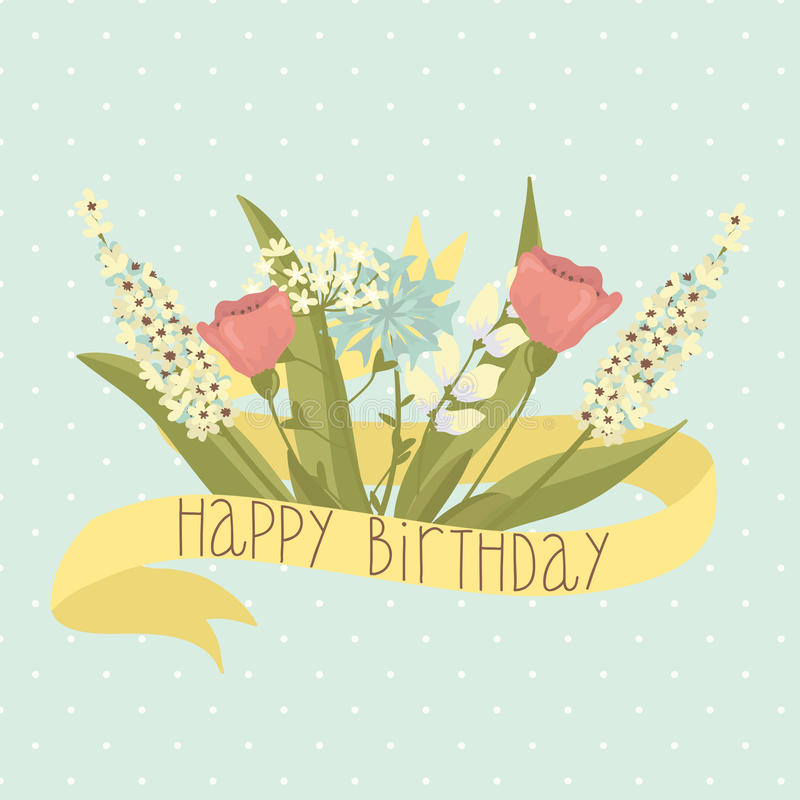 Beautiful Happy Birthday Greeting Card With Flowers Stock Vector