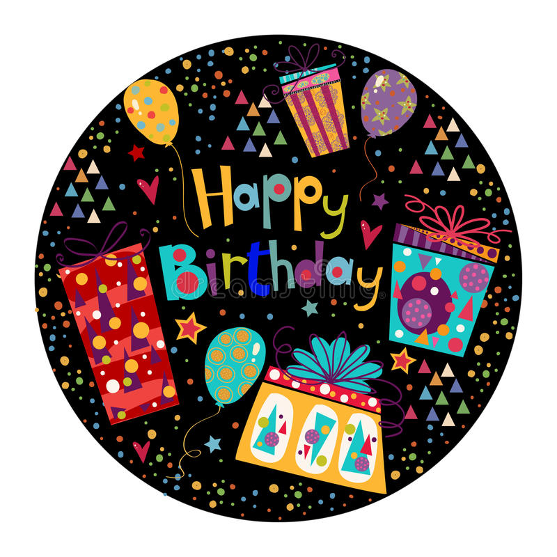 Beautiful happy birthday greeting card with gift and balloons in bright colors. royalty free illustration