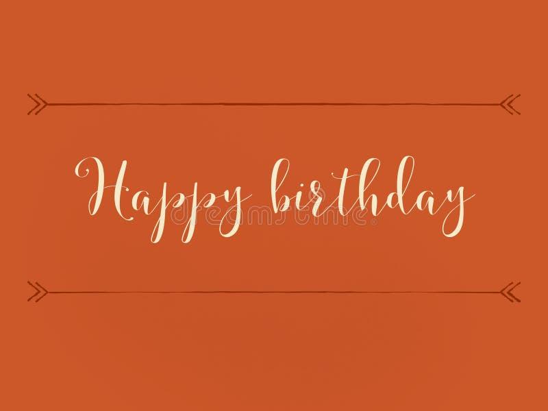 Beautiful happy birthday wish card on a orange background. Beautiful happy birthday wish card orange background stock illustration