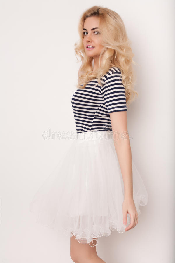 Beautiful happy blond girl in the dance , have fun stock image