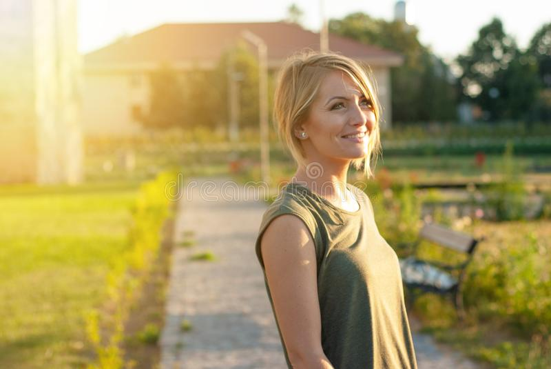 Beautiful happy blonde woman smiling stock photography