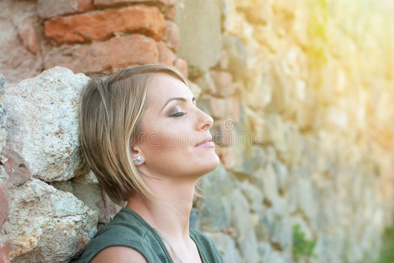 Beautiful happy blonde woman smiling royalty free stock images