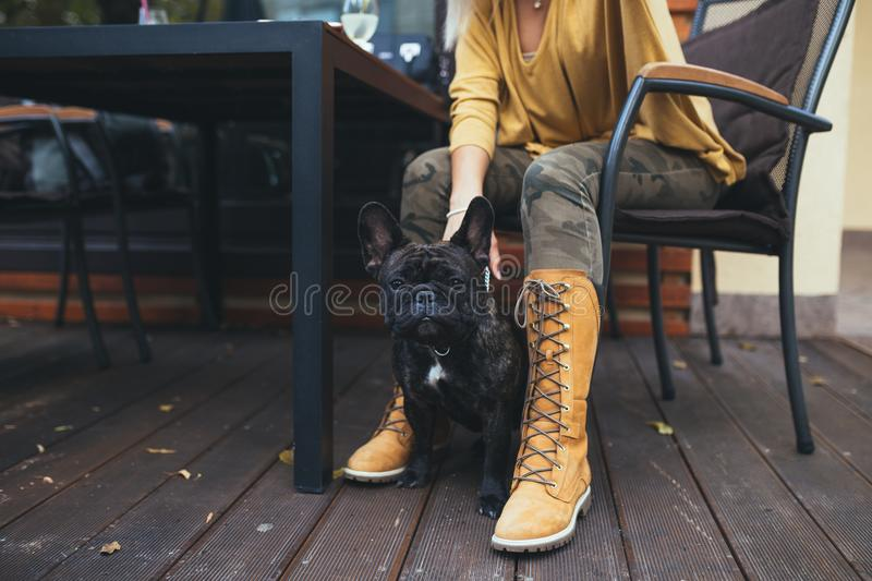 Beautiful young girl with her dog in autumn park royalty free stock images