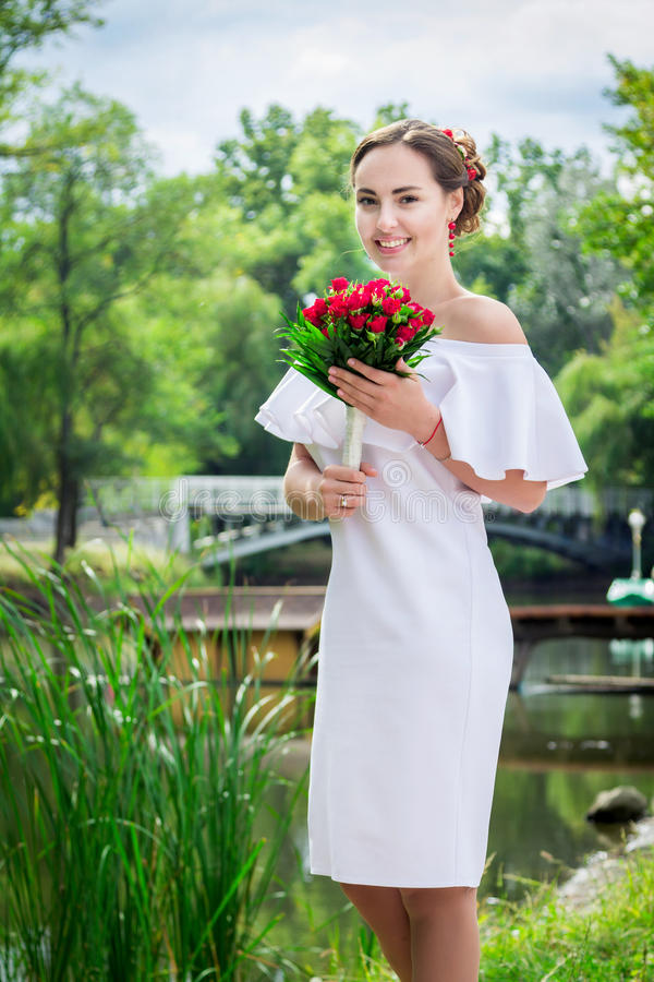 Beautiful happy bride royalty free stock images