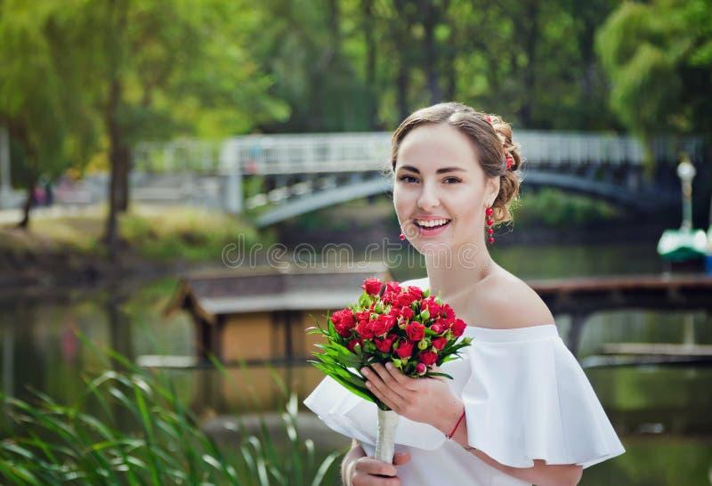 Beautiful happy bride stock image