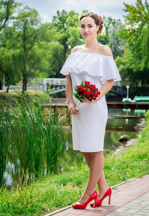 Beautiful happy bride stock photos