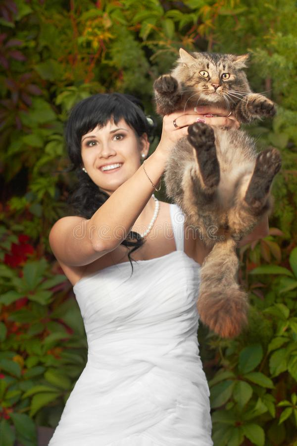 Beautiful and happy brunette young bride in the fashionable dress with the cute surprised cat in her hands stock images