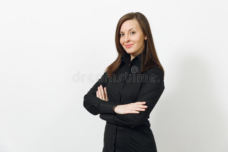 Beautiful caucasian young brown-hair business woman isolated on white background. Manager or worker. Copy space advertisement royalty free stock image