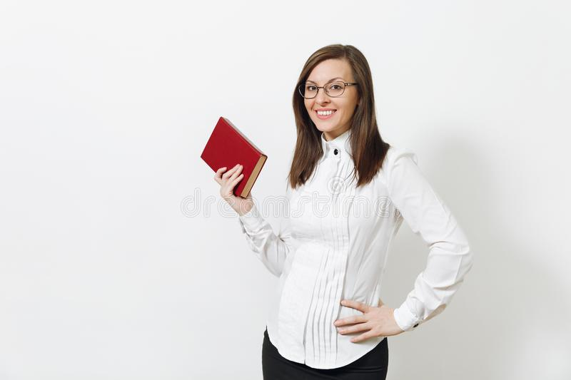 Beautiful caucasian young brown-hair business woman isolated on white background. Manager or worker. Copy space advertisement royalty free stock photos