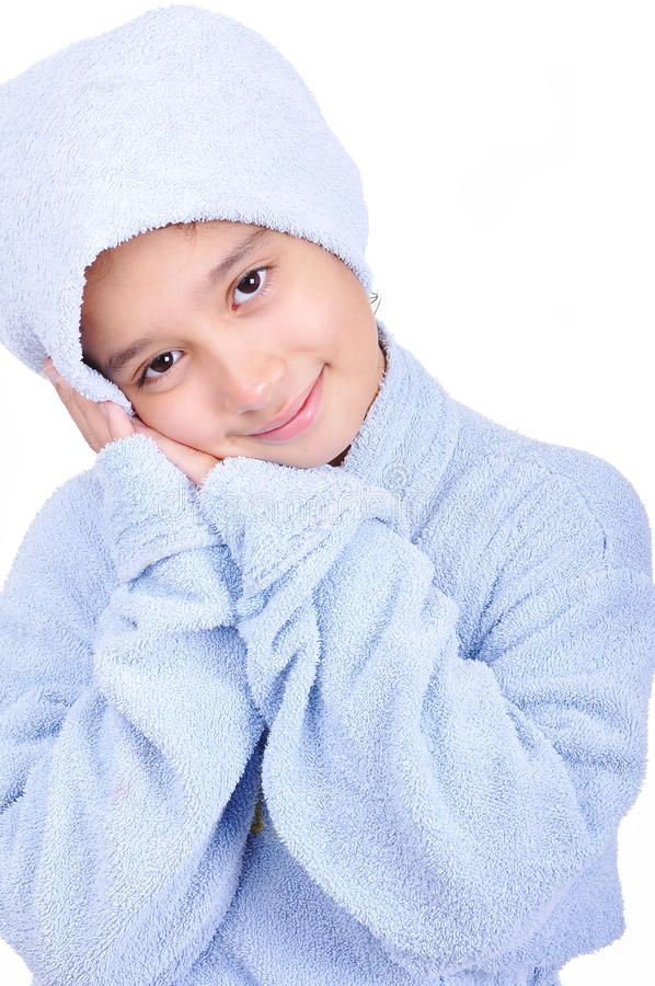 Download Beautiful Happy Childhood In Robe, Isolated Stock Photo - Image: 10824552