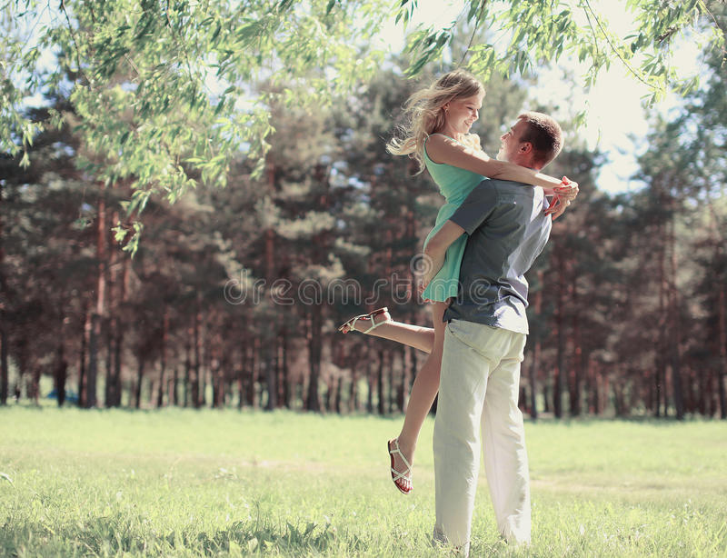 Beautiful happy couple in love, spring sunny day, love stock photo