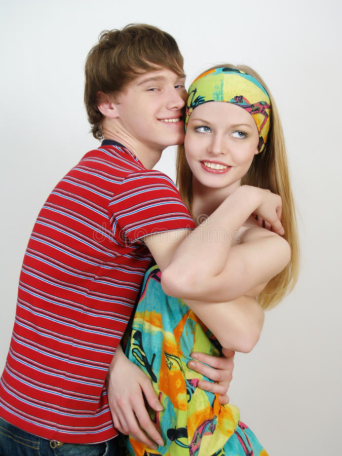 Beautiful happy couple of lovers royalty free stock photography