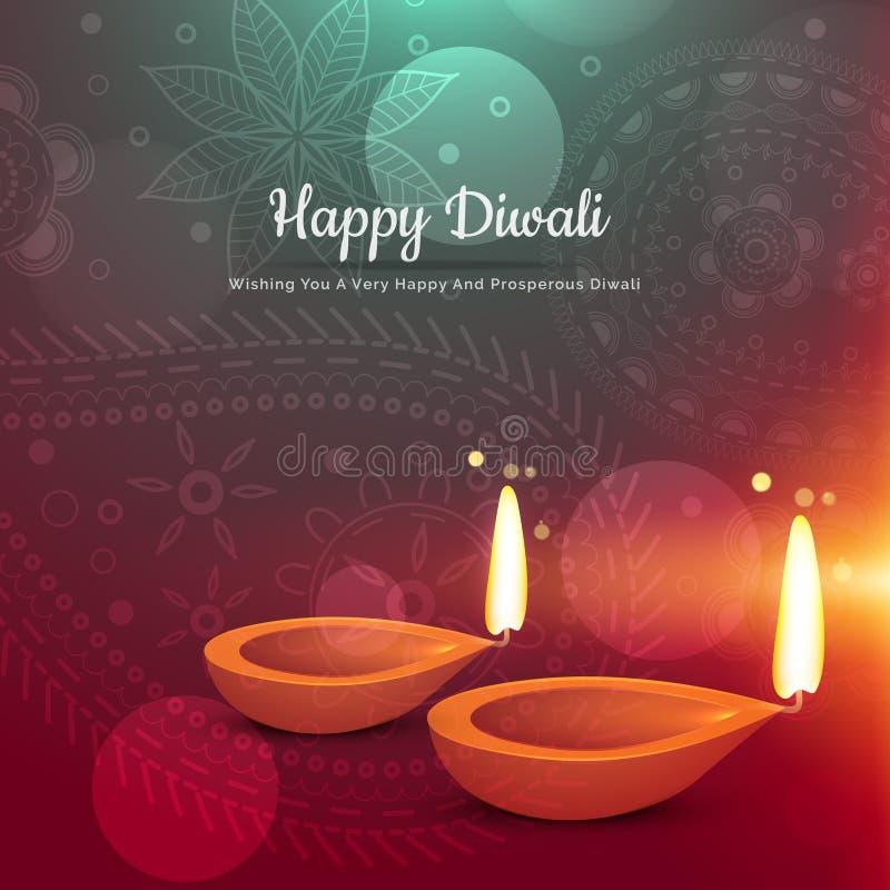 Beautiful happy diwali diya greeting card vector illustration