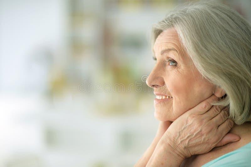 Beautiful happy elderly woman royalty free stock photo