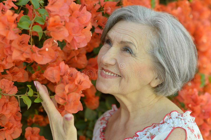 Beautiful happy elderly woman royalty free stock images