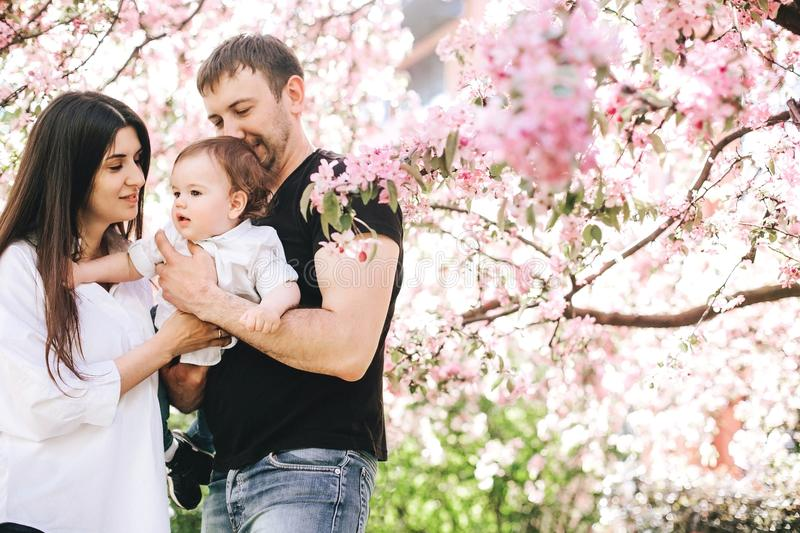 Beautiful happy family with a little boy in their arms are standing in an embrace near the tree of cherry blossoms, smiling. Backg stock image