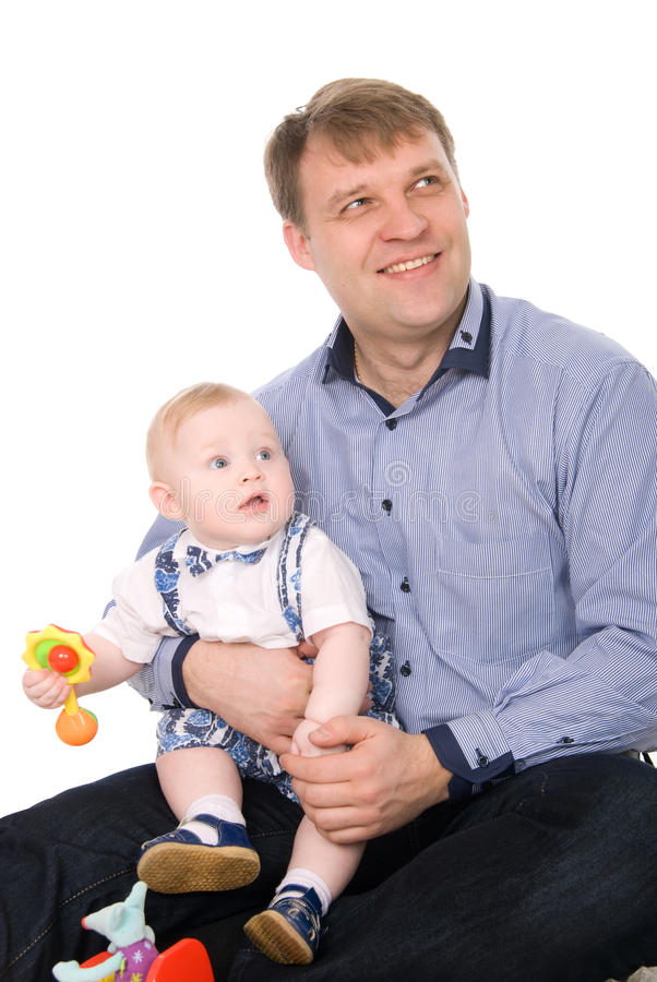 Beautiful happy father and the little cute baby