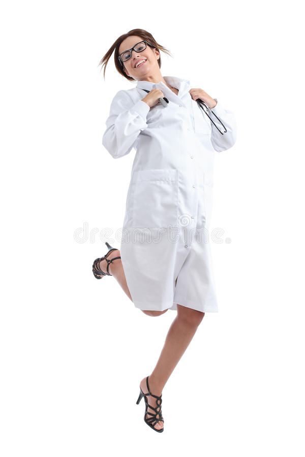 Beautiful happy female doctor jumping happy royalty free stock images