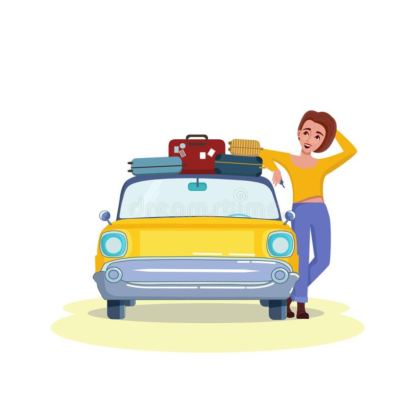 Beautiful happy girl going to holiday trip by retro car and holding keys. Suitcases on top. Driving, trip, travel. Concept. Vector illustration stock illustration
