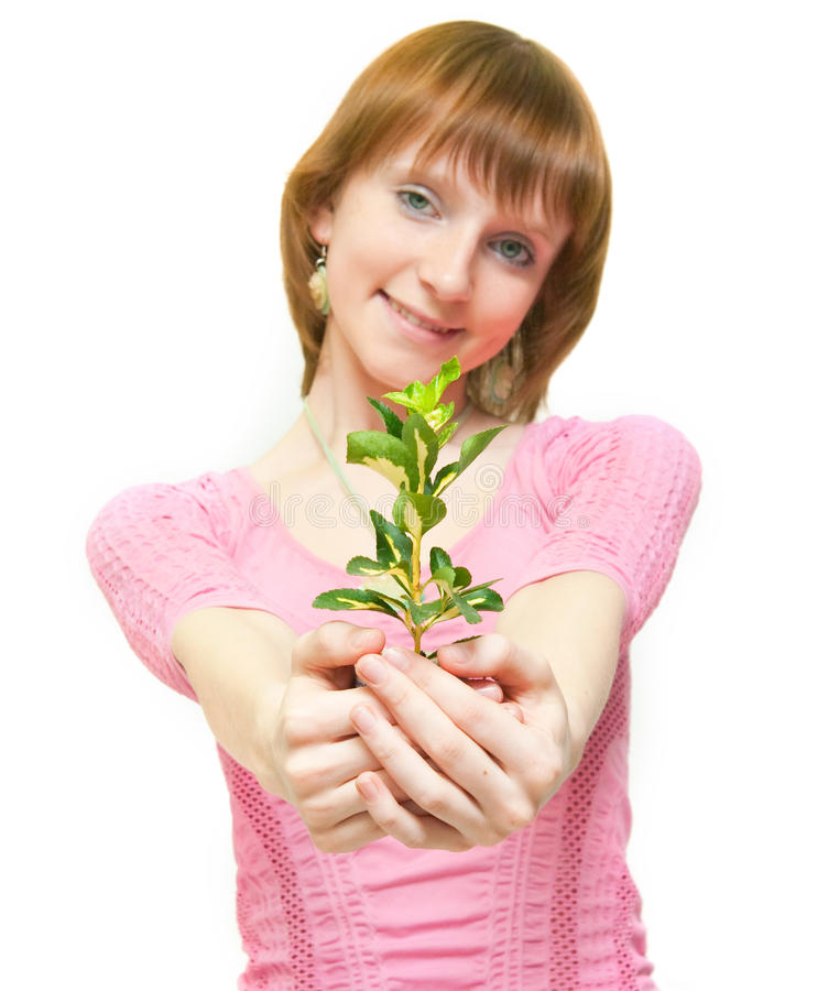 Beautiful happy girl holding plant royalty free stock photo