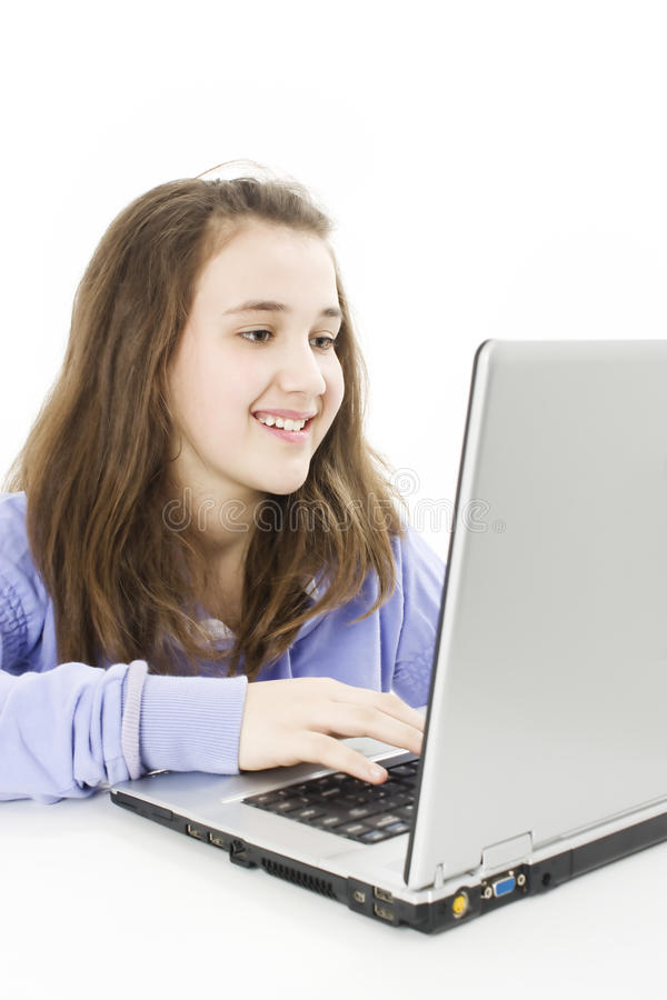 Beautiful and happy girl with a laptop,