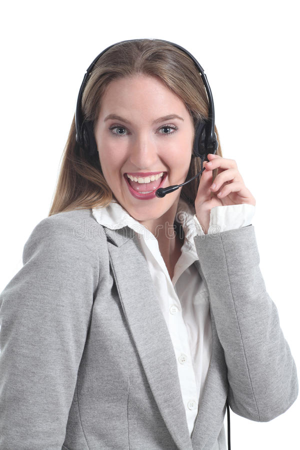 Beautiful and happy phone operator woman