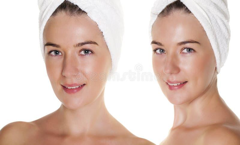 Beautiful Happy Spa κορίτσι που απομονώνεται σε ένα άσπρο υπόβαθρο στοκ φωτογραφία με δικαίωμα ελεύθερης χρήσης