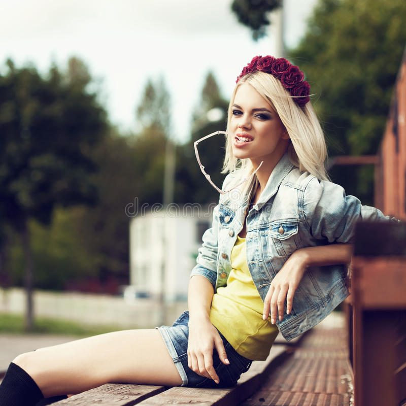 Beautiful Happy Student Relaxing Outdoor Royalty Free