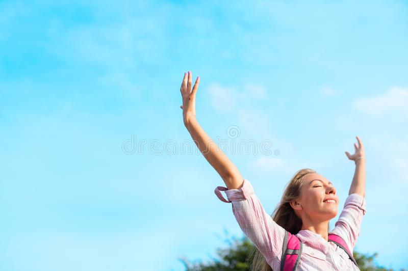 Beautiful happy travelling girl enjoying sun royalty free stock photos