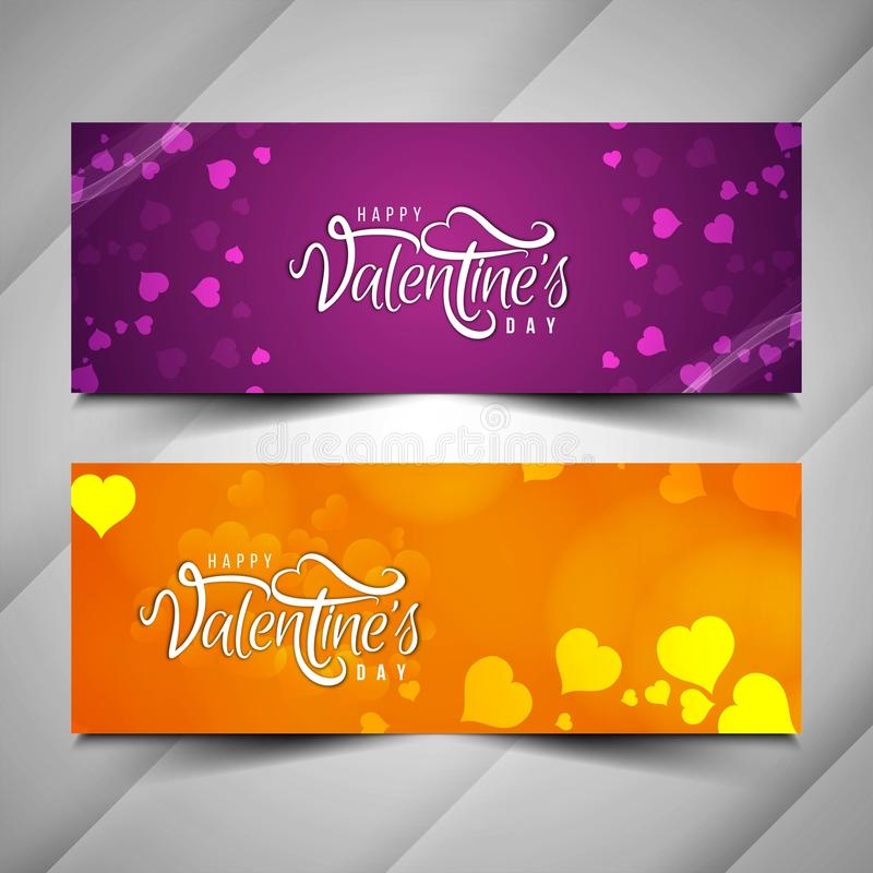 Beautiful Happy Valentine`s day love banner set. Vector royalty free illustration