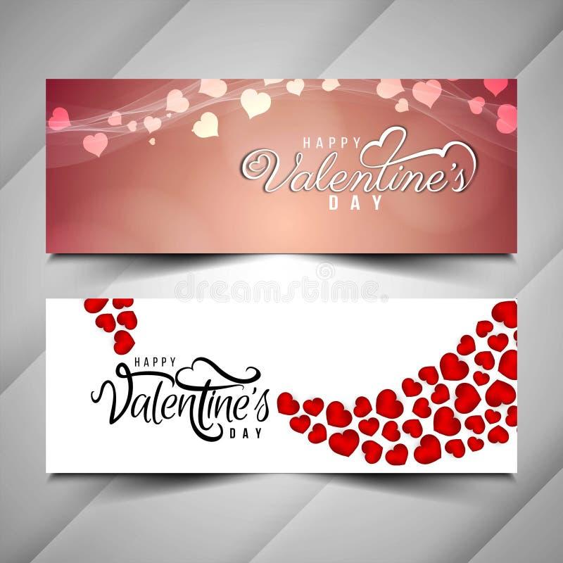 Beautiful Happy Valentine`s day love banner set. Vector stock illustration