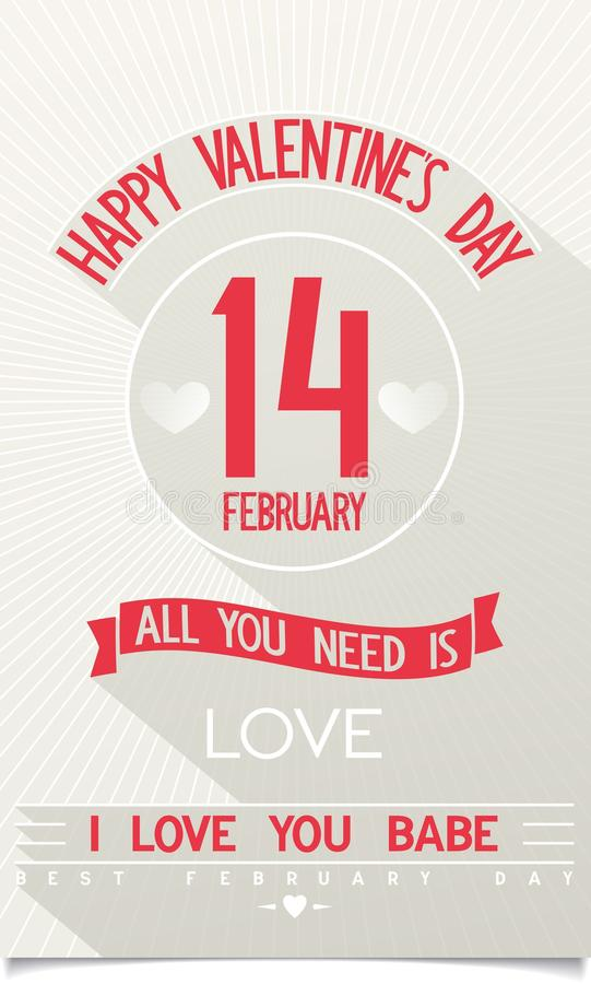 Beautiful Happy Valentines Day vector poster stock photos
