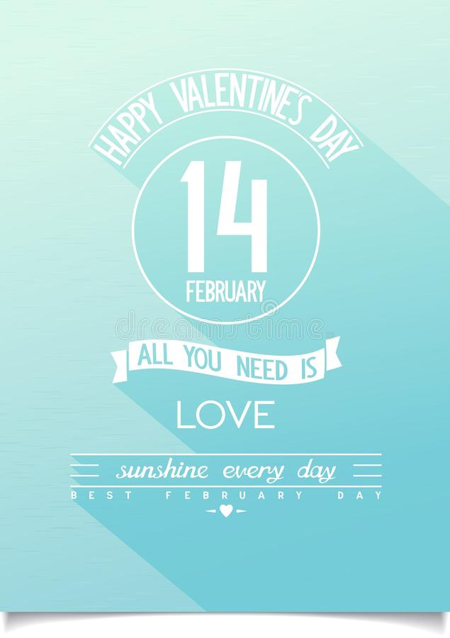 Beautiful Happy Valentines Day vector poster royalty free stock photo