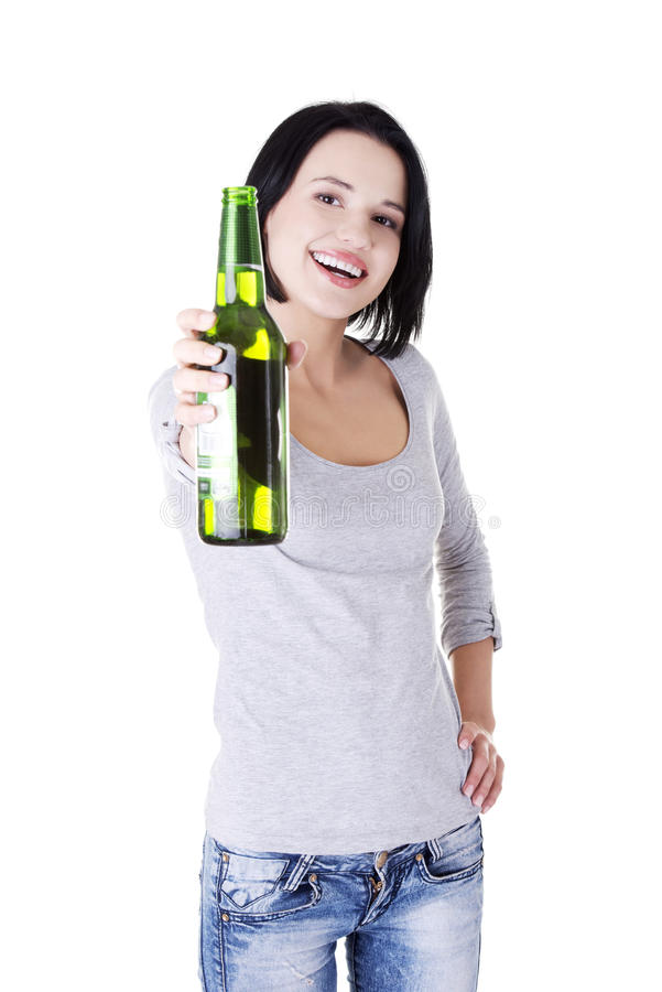 Beautiful happy woman with beer stock photography