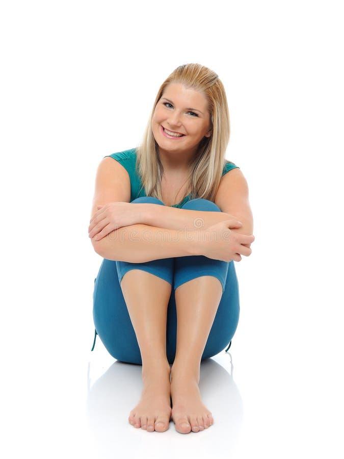 Beautiful Happy Woman Doing Fitness Pilates Stock Photos