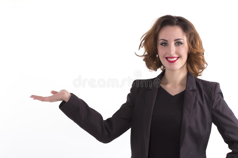 Beautiful happy woman holds palm with space for text stock images