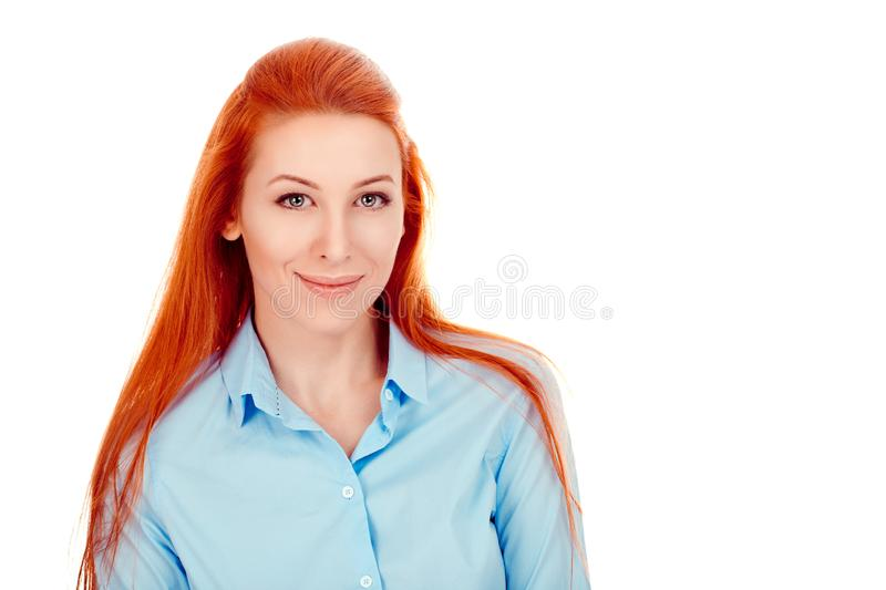 Beautiful happy woman looking at camera smiling cheerful royalty free stock image