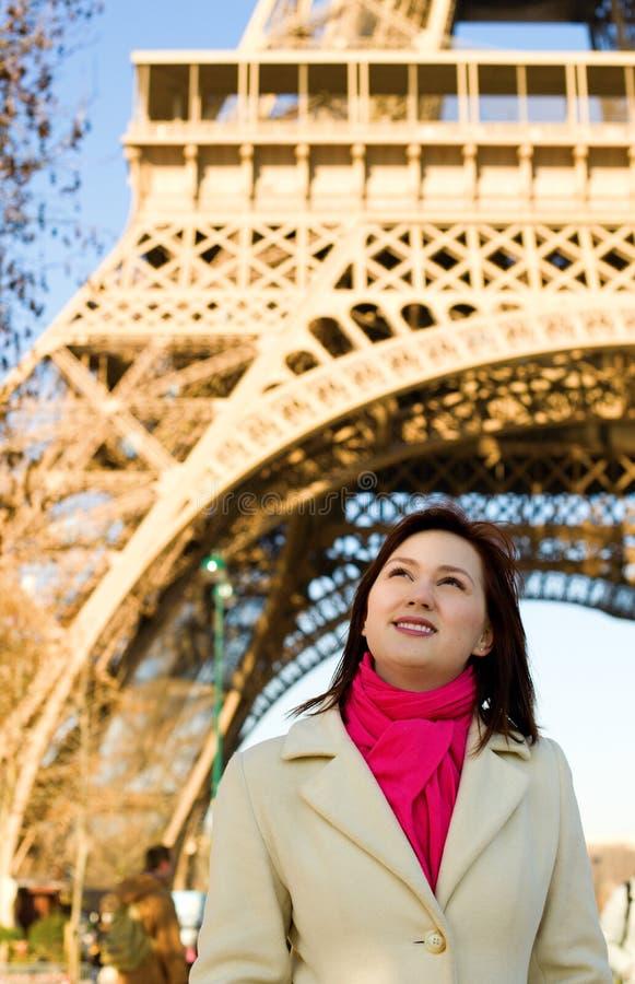 Beautiful happy woman in Paris stock photos